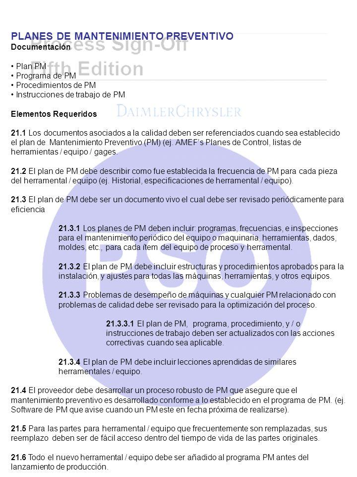 PLANES DE MANTENIMIENTO PREVENTIVO Documentación Plan PM Programa de PM Procedimientos de PM Instrucciones de trabajo de PM Elementos Requeridos 21.1