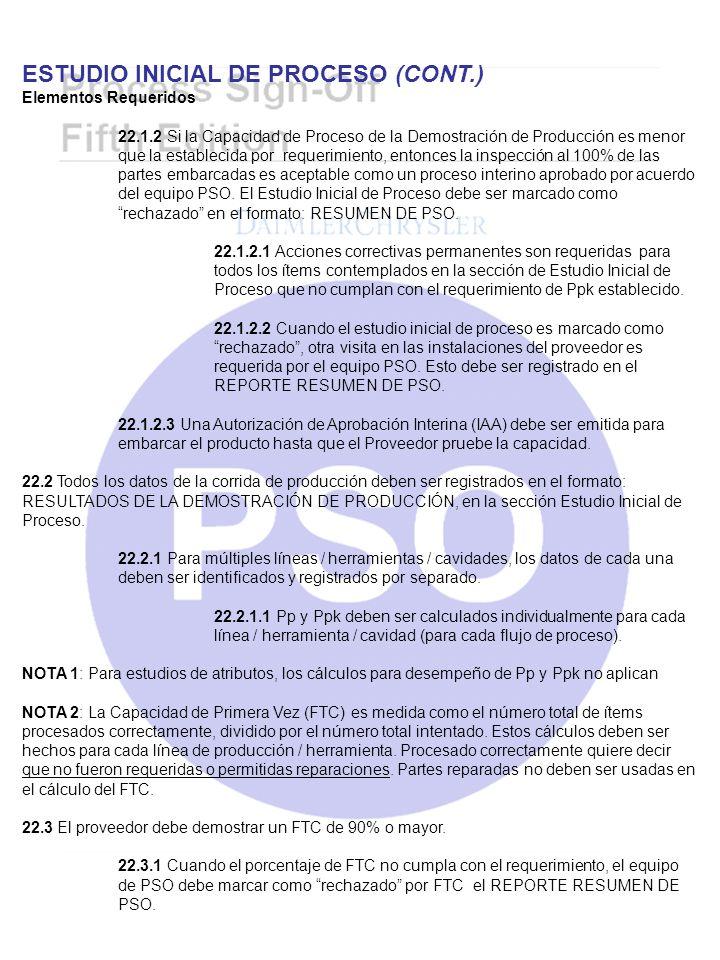 ESTUDIO INICIAL DE PROCESO (CONT.) Elementos Requeridos 22.1.2 Si la Capacidad de Proceso de la Demostración de Producción es menor que la establecida
