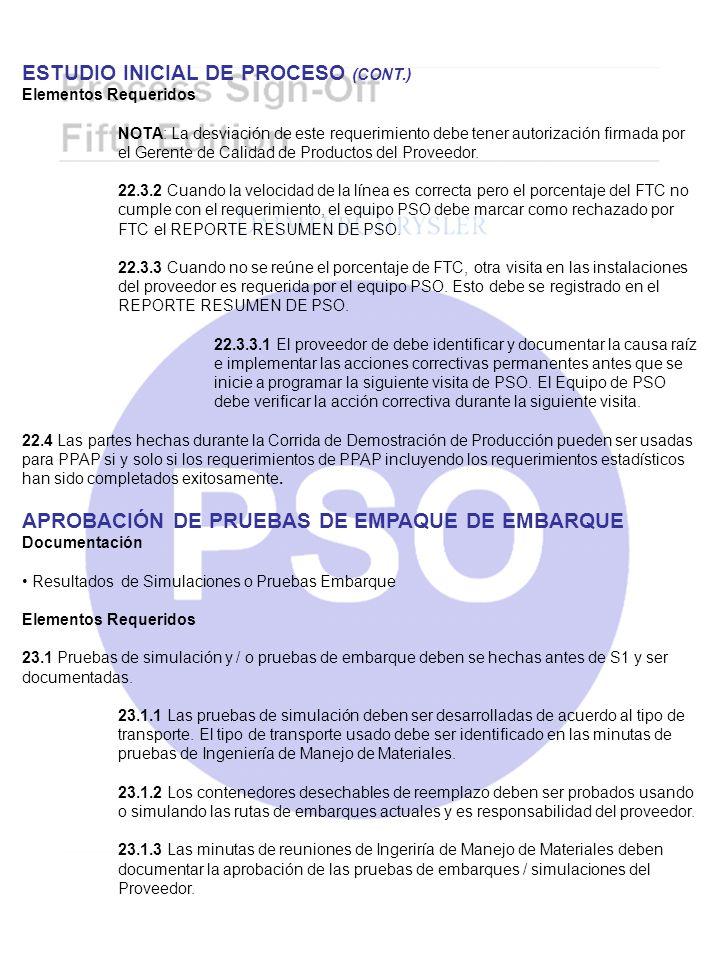 ESTUDIO INICIAL DE PROCESO (CONT.) Elementos Requeridos NOTA: La desviación de este requerimiento debe tener autorización firmada por el Gerente de Ca