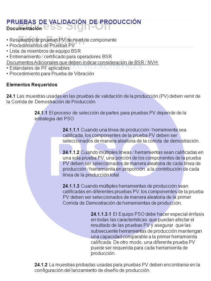 PRUEBAS DE VALIDACIÓN DE PRODUCCIÓN Documentación Resultados de pruebas PV de nivel de componente Procedimientos de Pruebas PV Lista de miembros de eq