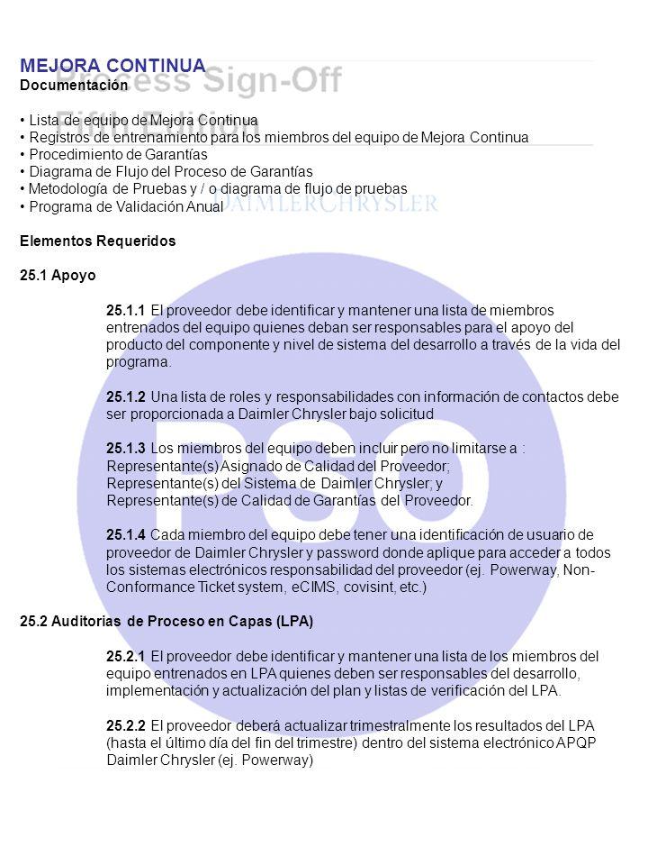 MEJORA CONTINUA Documentación Lista de equipo de Mejora Continua Registros de entrenamiento para los miembros del equipo de Mejora Continua Procedimie