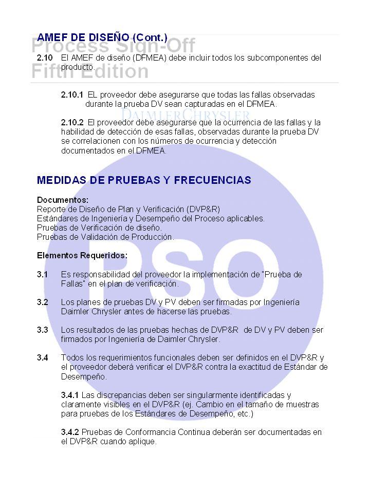 Bibliografía Process Sign-Off Fifth Edition, Daimler Chrysler Corporation
