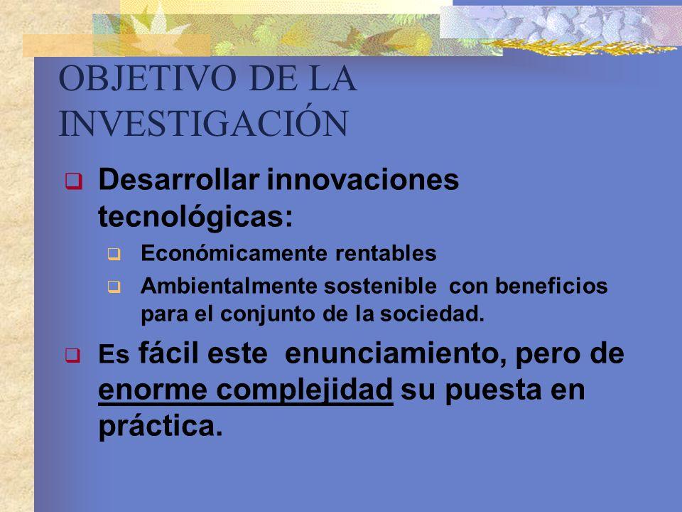 OBJETIVO DE LA INVESTIGACIÓN Desarrollar innovaciones tecnológicas: Económicamente rentables Ambientalmente sostenible con beneficios para el conjunto
