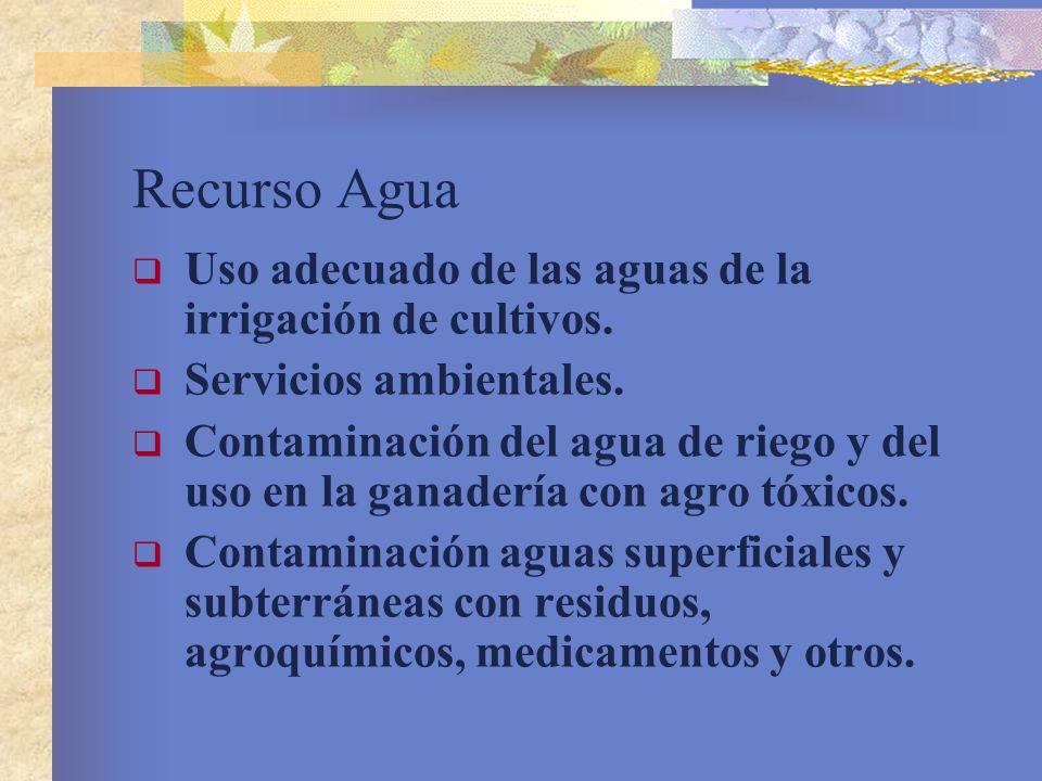 Recurso Agua Uso adecuado de las aguas de la irrigación de cultivos. Servicios ambientales. Contaminación del agua de riego y del uso en la ganadería
