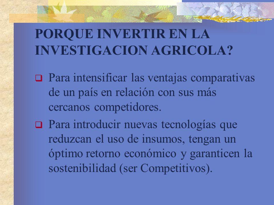 PORQUE INVERTIR EN LA INVESTIGACION AGRICOLA? Para intensificar las ventajas comparativas de un país en relación con sus más cercanos competidores. Pa