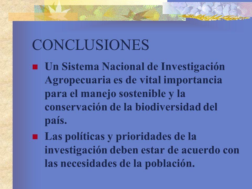 CONCLUSIONES Un Sistema Nacional de Investigación Agropecuaria es de vital importancia para el manejo sostenible y la conservación de la biodiversidad