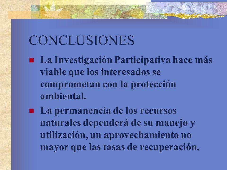CONCLUSIONES La Investigación Participativa hace más viable que los interesados se comprometan con la protección ambiental. La permanencia de los recu