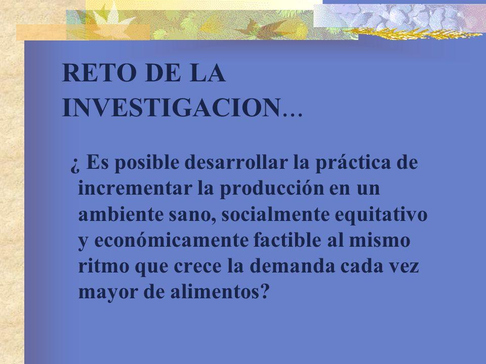 RETO DE LA INVESTIGACION... ¿ Es posible desarrollar la práctica de incrementar la producción en un ambiente sano, socialmente equitativo y económicam
