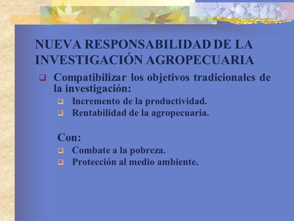 NUEVA RESPONSABILIDAD DE LA INVESTIGACIÓN AGROPECUARIA Compatibilizar los objetivos tradicionales de la investigación: Incremento de la productividad.