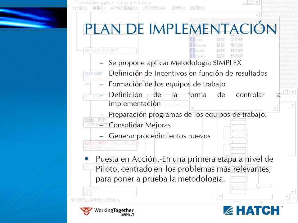 PLAN DE IMPLEMENTACIÓN – Se propone aplicar Metodología SIMPLEX – Definición de Incentivos en función de resultados – Formación de los equipos de trab