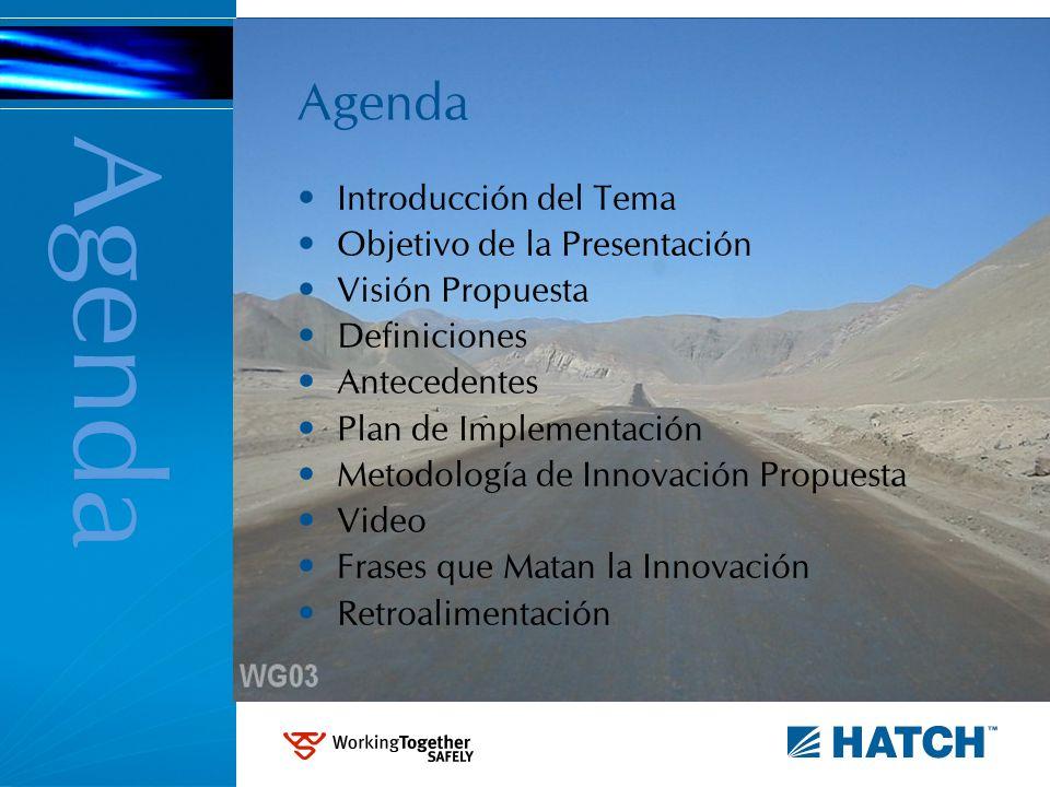 Agenda Introducción del Tema Objetivo de la Presentación Visión Propuesta Definiciones Antecedentes Plan de Implementación Metodología de Innovación P