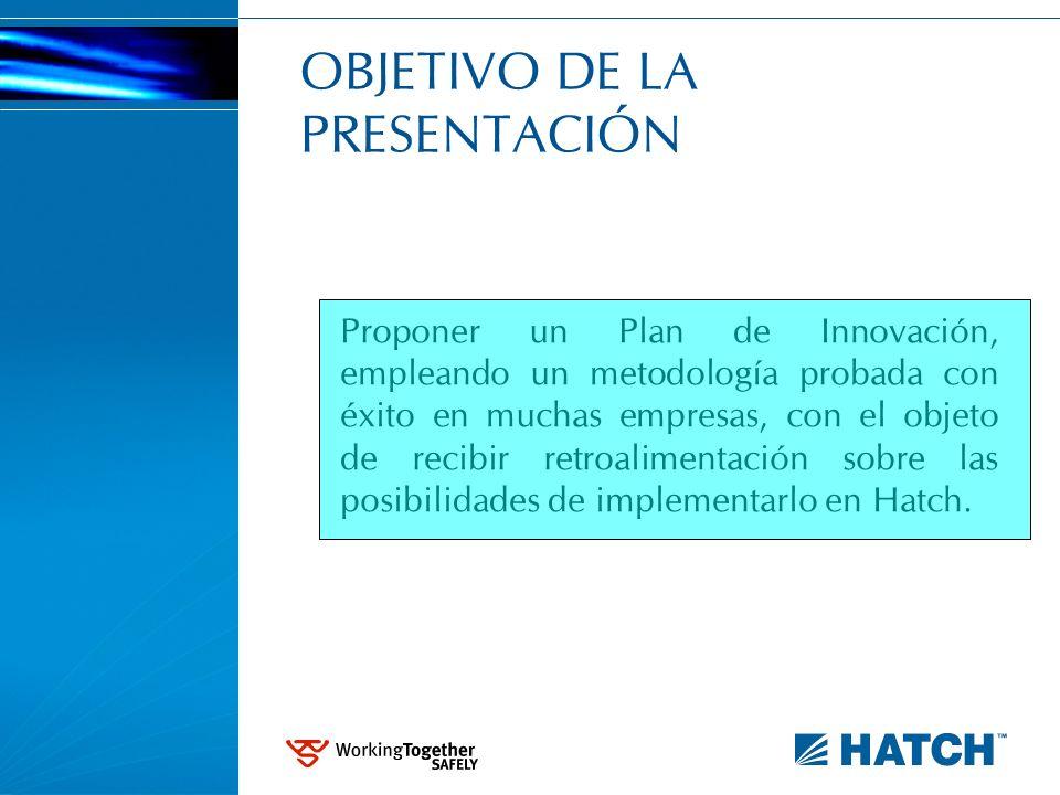 OBJETIVO DE LA PRESENTACIÓN Proponer un Plan de Innovación, empleando un metodología probada con éxito en muchas empresas, con el objeto de recibir re