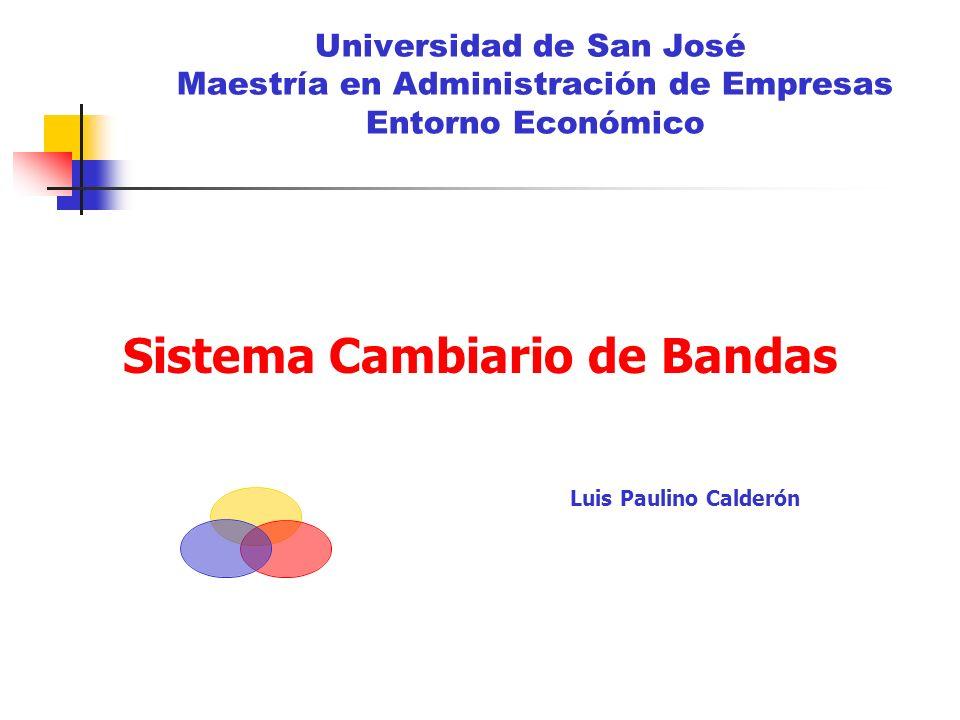 Universidad de San José Maestría en Administración de Empresas Entorno Económico Sistema Cambiario de Bandas Luis Paulino Calderón