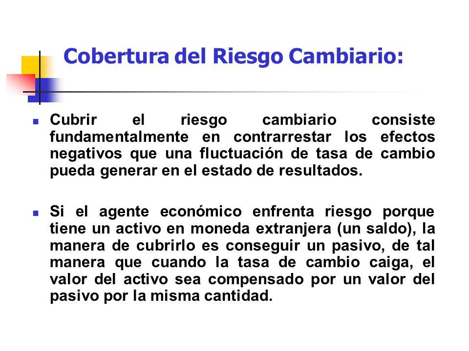 Cobertura del Riesgo Cambiario: Cubrir el riesgo cambiario consiste fundamentalmente en contrarrestar los efectos negativos que una fluctuación de tas