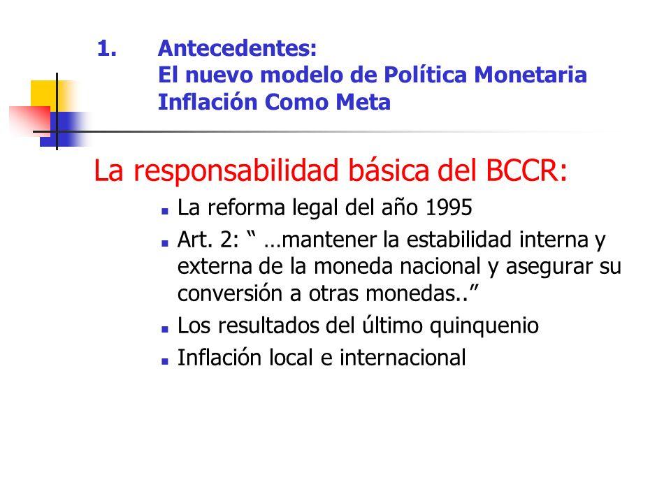 La responsabilidad básica del BCCR: La reforma legal del año 1995 Art. 2: …mantener la estabilidad interna y externa de la moneda nacional y asegurar