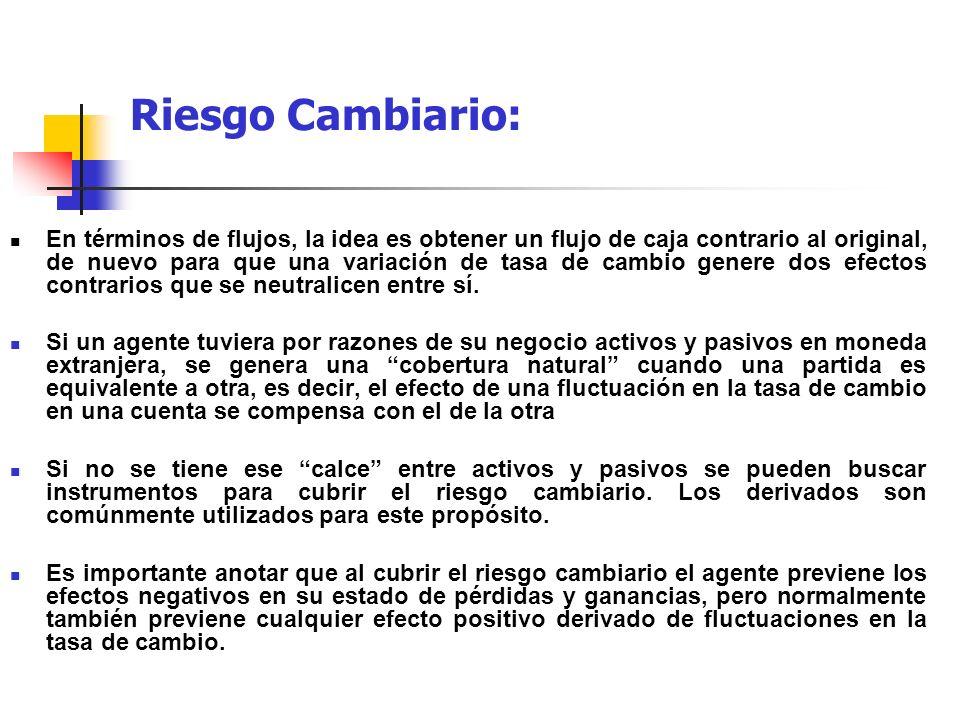 Riesgo Cambiario: En términos de flujos, la idea es obtener un flujo de caja contrario al original, de nuevo para que una variación de tasa de cambio