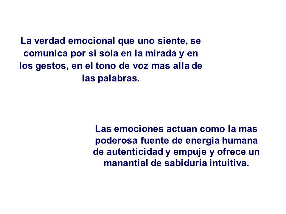 La verdad emocional que uno siente, se comunica por si sola en la mirada y en los gestos, en el tono de voz mas alla de las palabras. Las emociones ac
