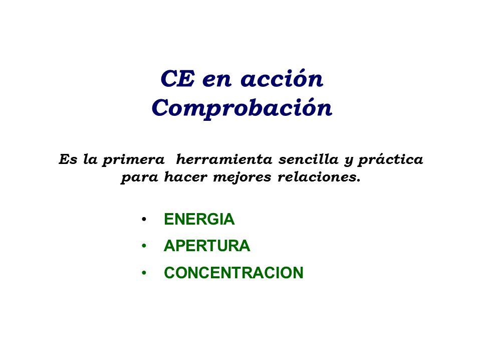CE en acción Comprobación Es la primera herramienta sencilla y práctica para hacer mejores relaciones. ENERGIA APERTURA CONCENTRACION