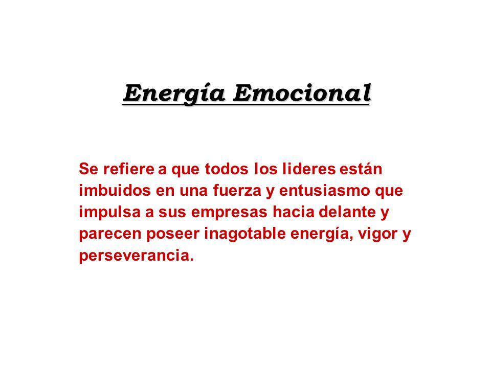 Energía Emocional Se refiere a que todos los lideres están imbuidos en una fuerza y entusiasmo que impulsa a sus empresas hacia delante y parecen pose