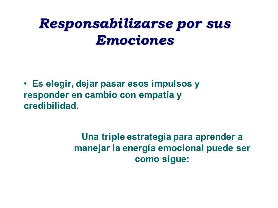 Responsabilizarse por sus Emociones Es elegir, dejar pasar esos impulsos y responder en cambio con empatía y credibilidad. Una triple estrategia para