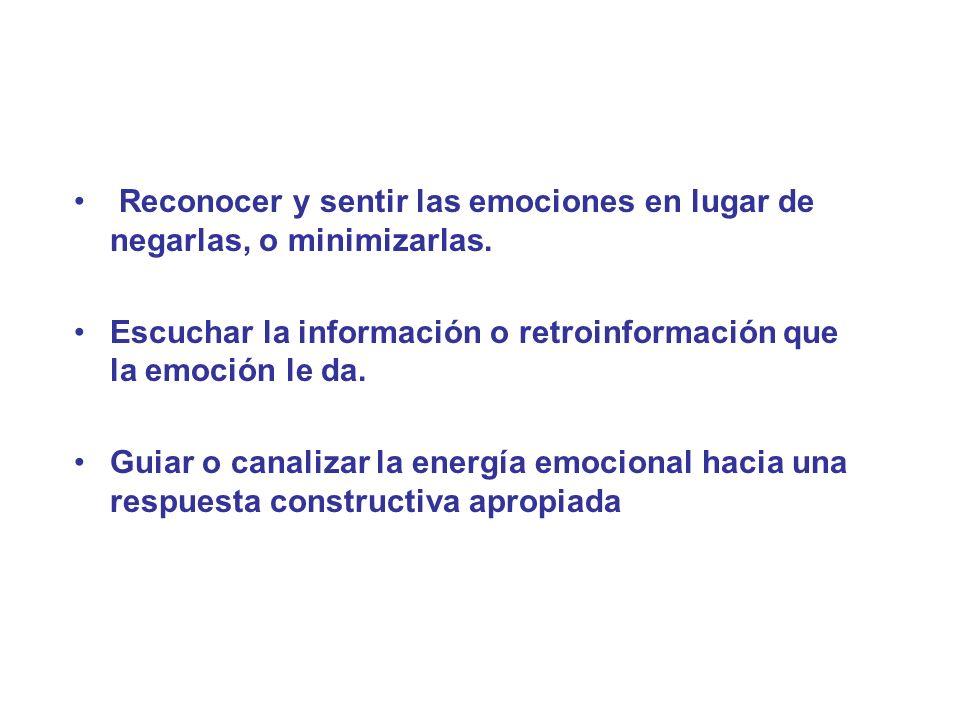 Reconocer y sentir las emociones en lugar de negarlas, o minimizarlas. Escuchar la información o retroinformación que la emoción le da. Guiar o canali