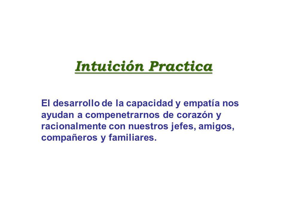 Intuición Practica El desarrollo de la capacidad y empatía nos ayudan a compenetrarnos de corazón y racionalmente con nuestros jefes, amigos, compañer