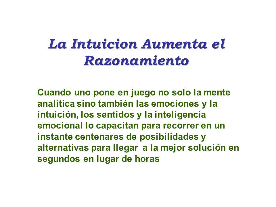 La Intuicion Aumenta el Razonamiento Cuando uno pone en juego no solo la mente analítica sino también las emociones y la intuición, los sentidos y la