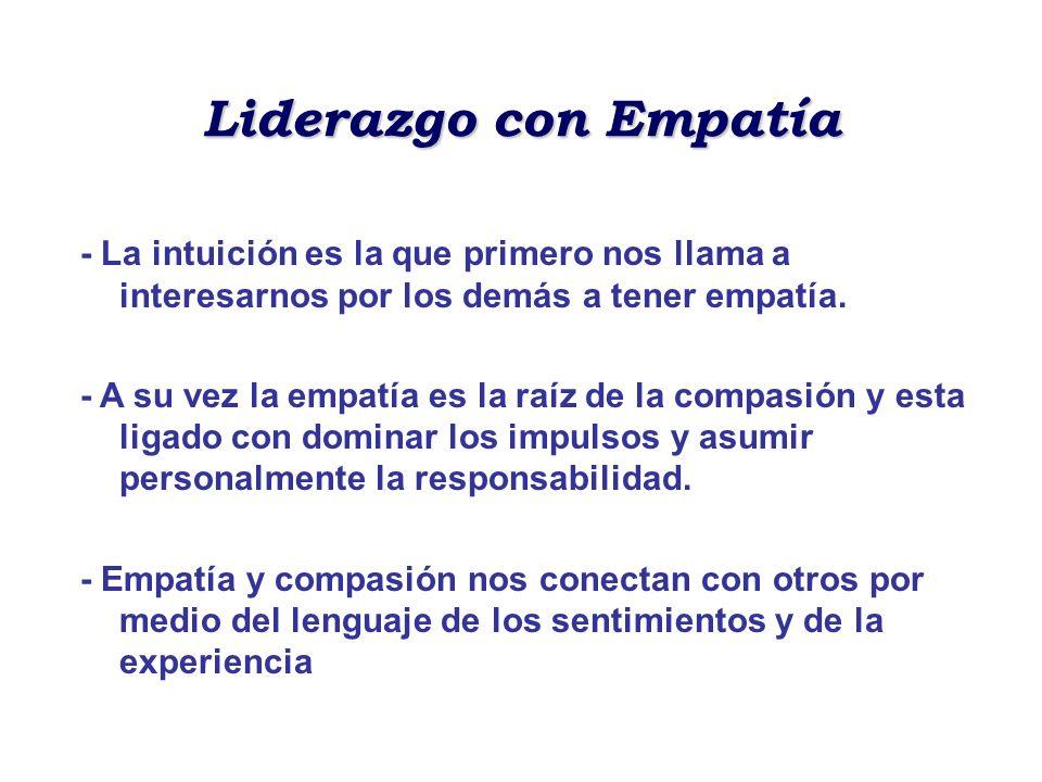 Liderazgo con Empatía - La intuición es la que primero nos llama a interesarnos por los demás a tener empatía. - A su vez la empatía es la raíz de la