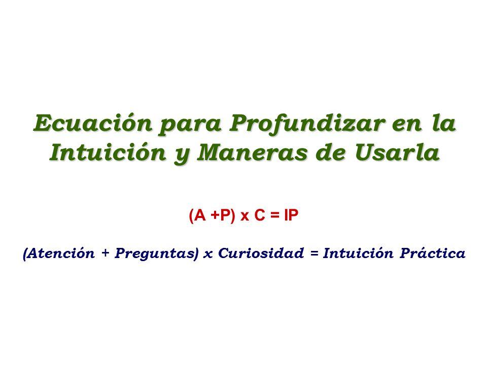 Ecuación para Profundizar en la Intuición y Maneras de Usarla Ecuación para Profundizar en la Intuición y Maneras de Usarla (A +P) x C = IP (Atención