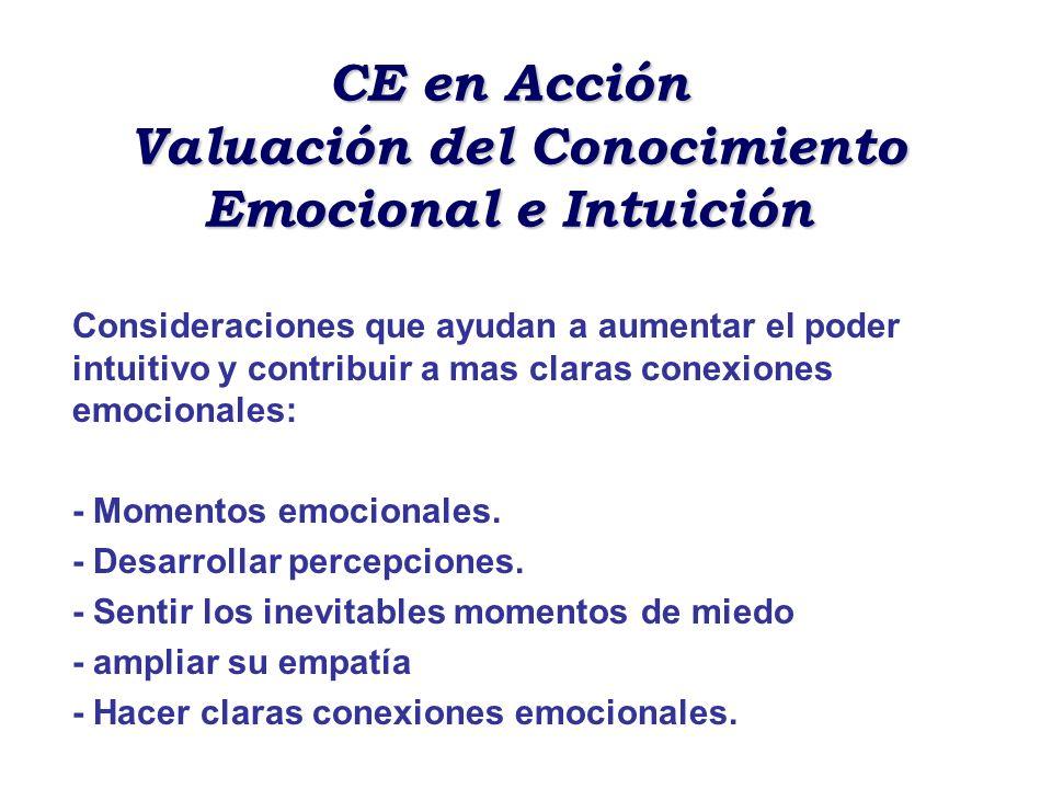 CE en Acción Valuación del Conocimiento Emocional e Intuición Consideraciones que ayudan a aumentar el poder intuitivo y contribuir a mas claras conex