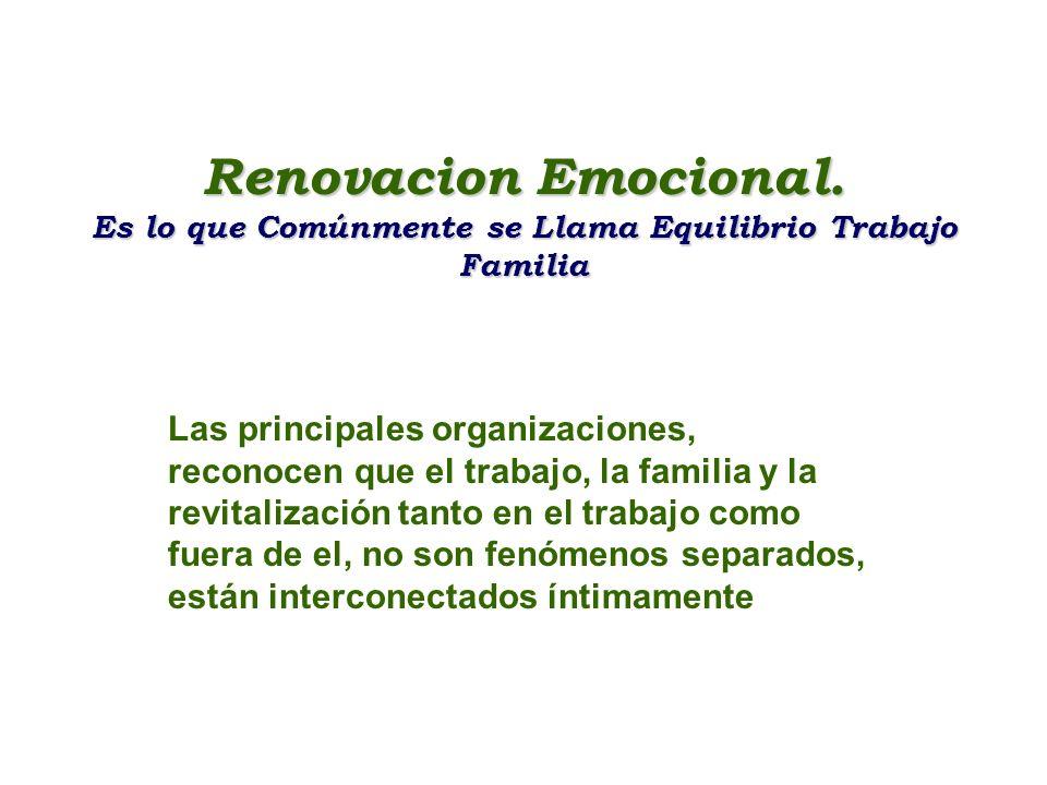 Renovacion Emocional. Es lo que Comúnmente se Llama Equilibrio Trabajo Familia Las principales organizaciones, reconocen que el trabajo, la familia y