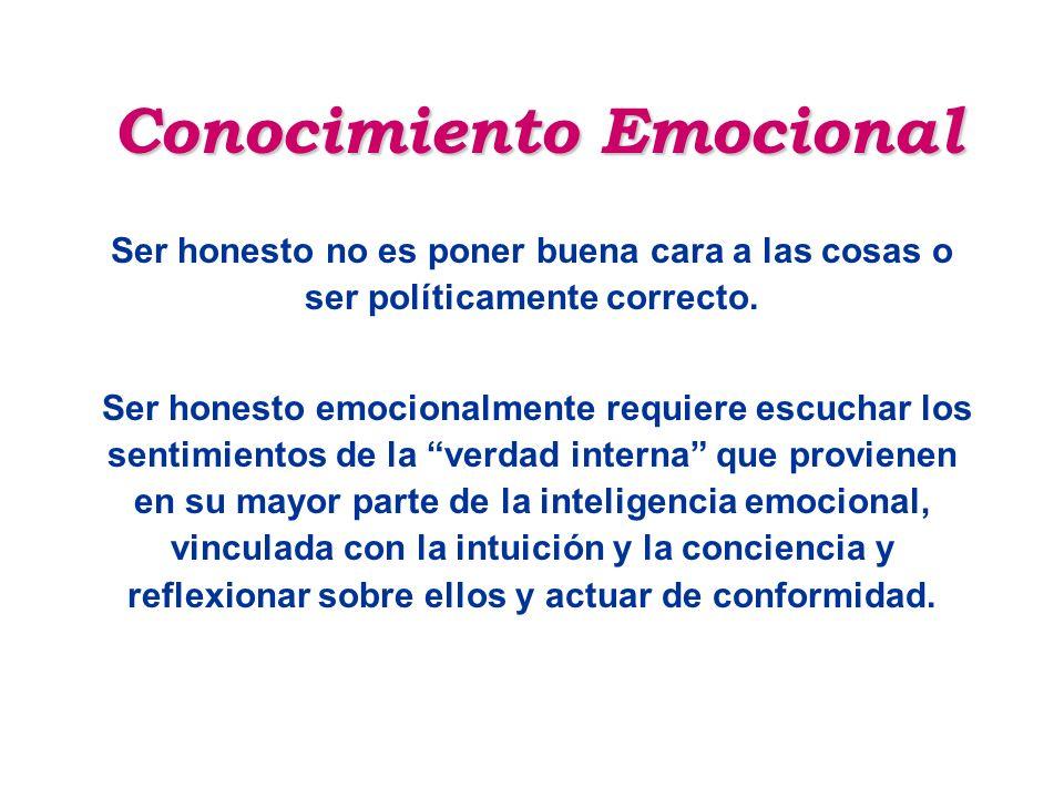 Conocimiento Emocional Ser honesto no es poner buena cara a las cosas o ser políticamente correcto. Ser honesto emocionalmente requiere escuchar los s