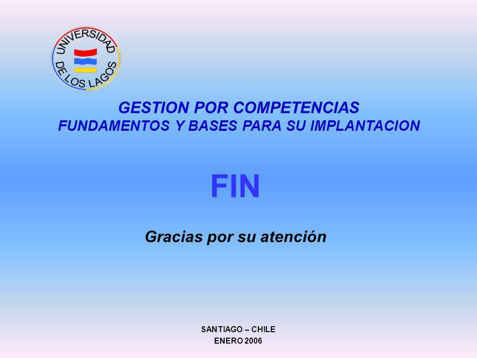 FIN Gracias por su atención GESTION POR COMPETENCIAS FUNDAMENTOS Y BASES PARA SU IMPLANTACION SANTIAGO – CHILE ENERO 2006