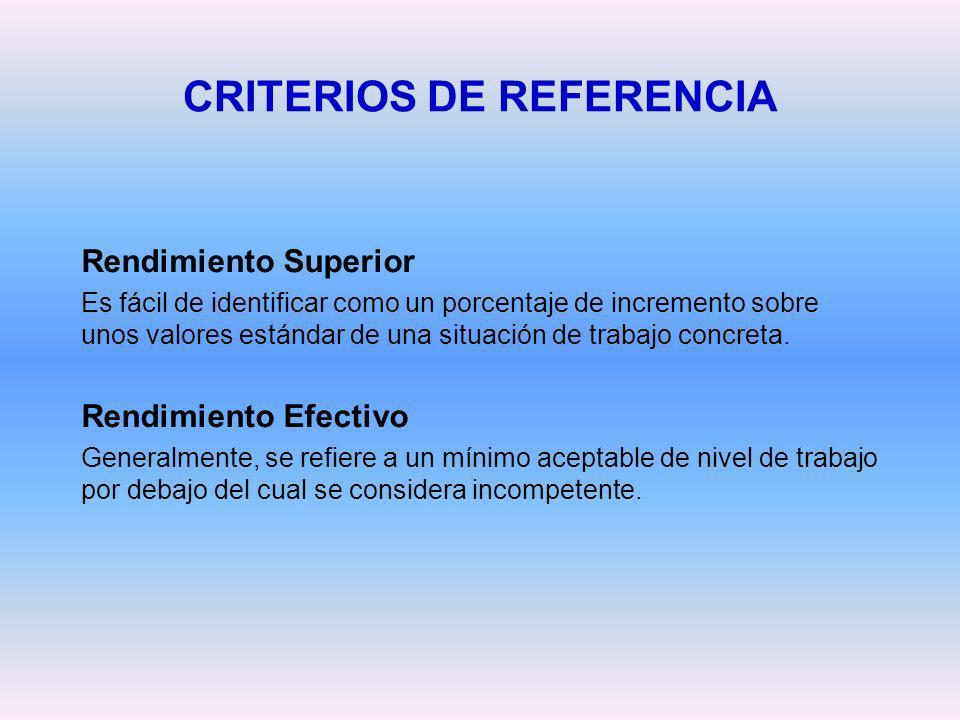 CRITERIOS DE REFERENCIA Rendimiento Superior Es fácil de identificar como un porcentaje de incremento sobre unos valores estándar de una situación de