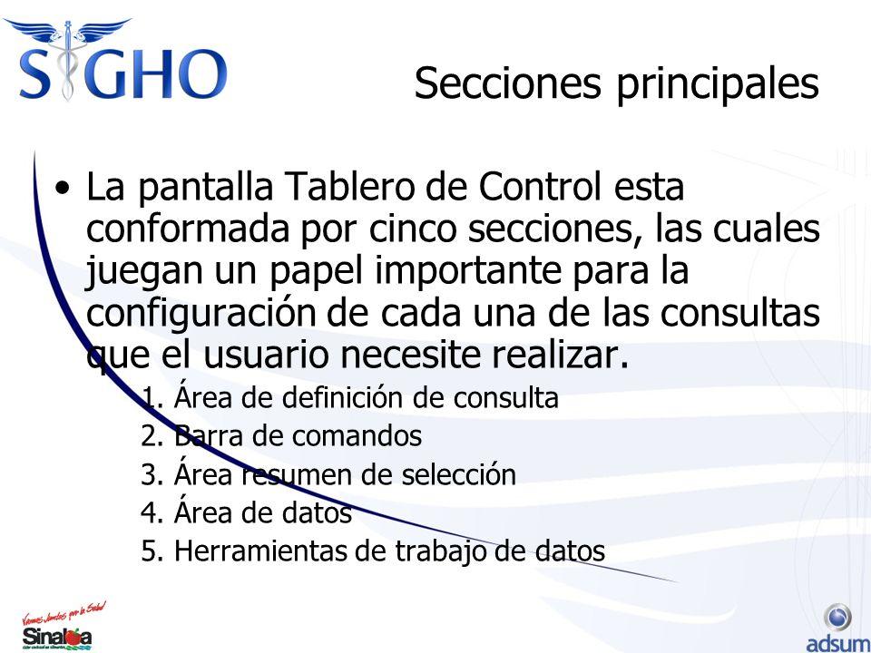 Secciones principales La pantalla Tablero de Control esta conformada por cinco secciones, las cuales juegan un papel importante para la configuración de cada una de las consultas que el usuario necesite realizar.