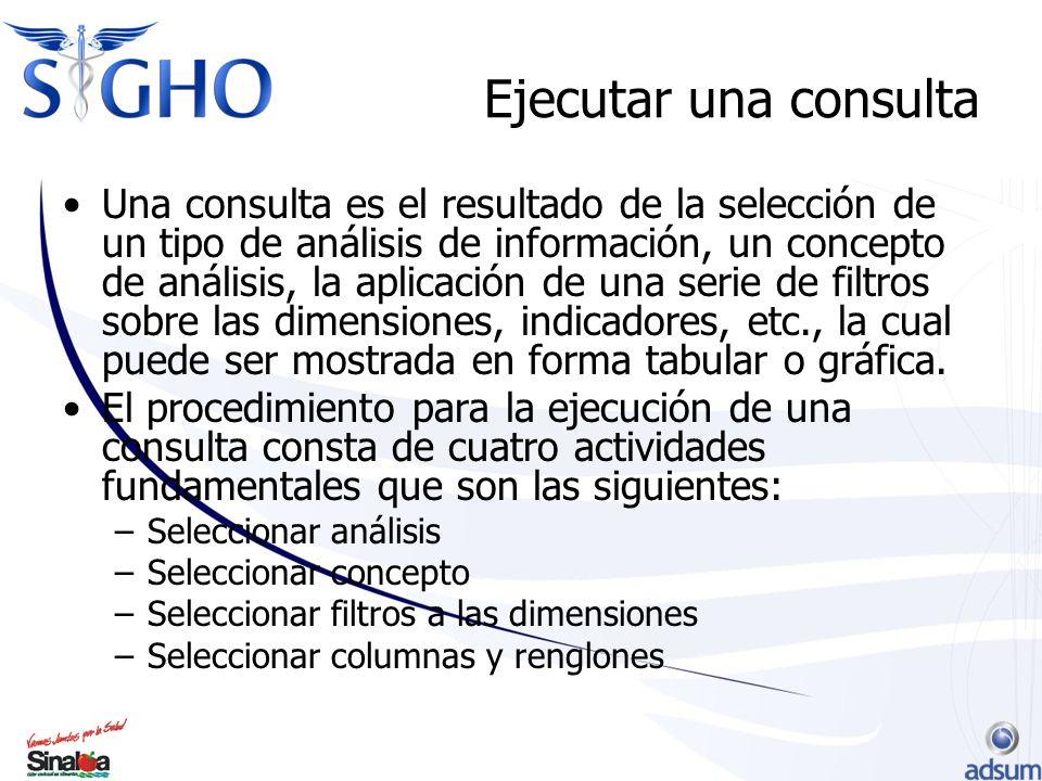 Ejecutar una consulta Una consulta es el resultado de la selección de un tipo de análisis de información, un concepto de análisis, la aplicación de una serie de filtros sobre las dimensiones, indicadores, etc., la cual puede ser mostrada en forma tabular o gráfica.