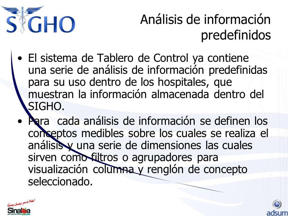Análisis de información predefinidos El sistema de Tablero de Control ya contiene una serie de análisis de información predefinidas para su uso dentro de los hospitales, que muestran la información almacenada dentro del SIGHO.