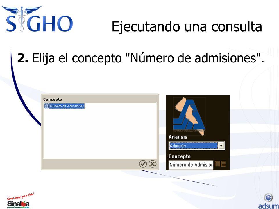 Ejecutando una consulta 2. Elija el concepto Número de admisiones .