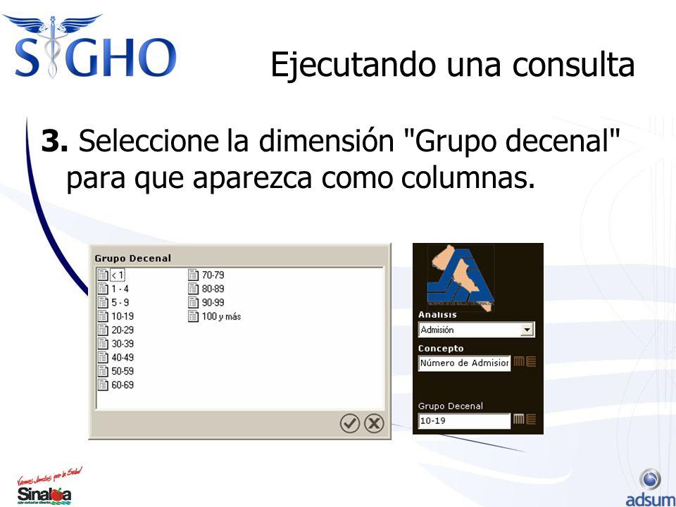 Ejecutando una consulta 3. Seleccione la dimensión Grupo decenal para que aparezca como columnas.