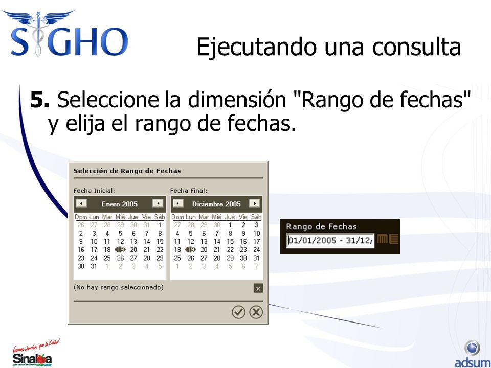 Ejecutando una consulta 5. Seleccione la dimensión Rango de fechas y elija el rango de fechas.