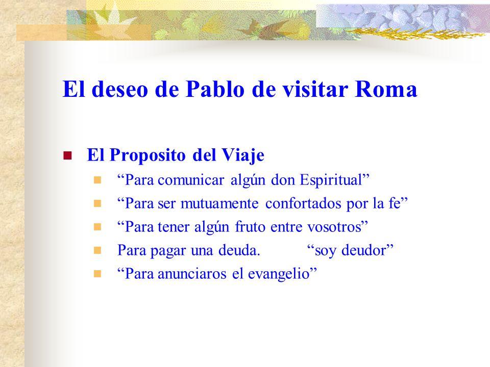 El deseo de Pablo de visitar Roma. La oración de Pablo Era continua.Sin cesar Para tener Un prospero viaje