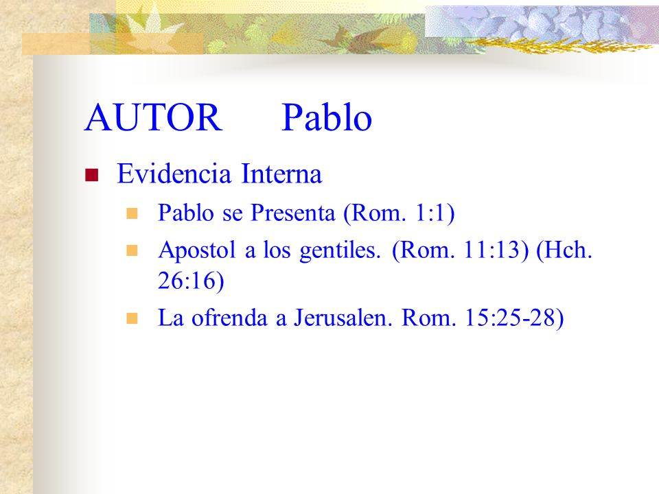 COMENTARIO DE LA CARTA DEL APOSTOL PABLO A LOS ROMANOS