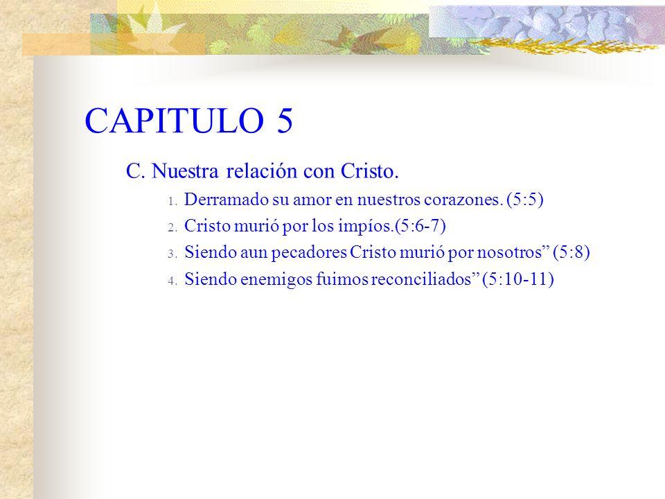 CAPITULO 5 B. En nuestra relación con las tribulaciones. 1. Nos gloriamos en las tribulaciones. (5:3) 2. La tribulación produce paciencia. 3. La pacie