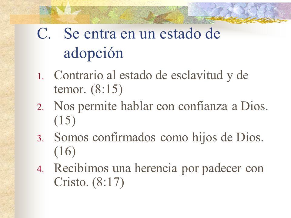 Contrastes entre la carne y el Espíritu. *En sus pensamientos.(8:5) *En sus consecuencias.(8:6-8, 13) *En su esencia. (8:9-11, 14, 16) Capitulo 8