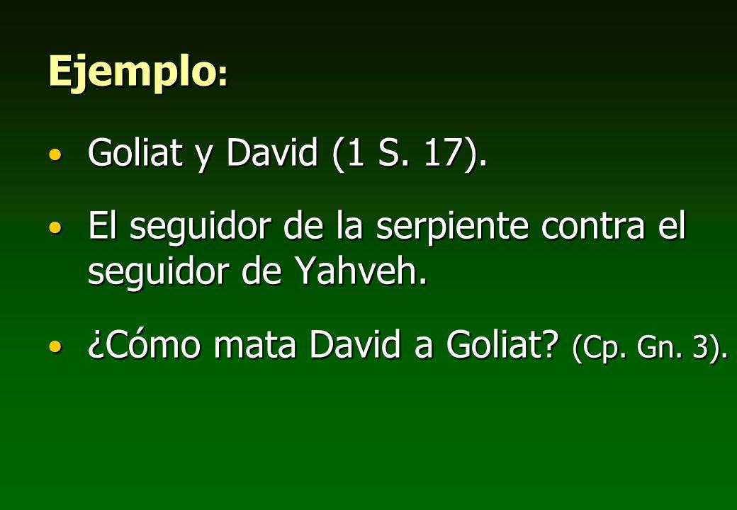 Ejemplo : Goliat y David (1 S. 17). Goliat y David (1 S. 17). El seguidor de la serpiente contra el seguidor de Yahveh. El seguidor de la serpiente co