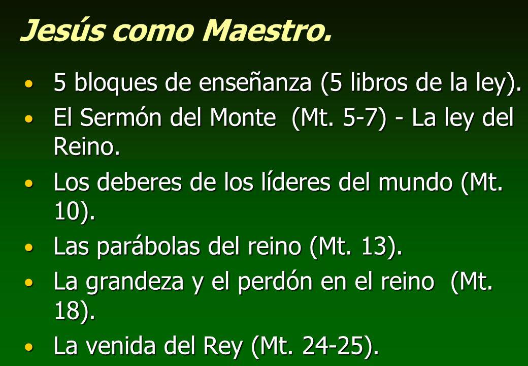 Jesús como Maestro. 5 bloques de enseñanza (5 libros de la ley). 5 bloques de enseñanza (5 libros de la ley). El Sermón del Monte (Mt. 5-7) - La ley d