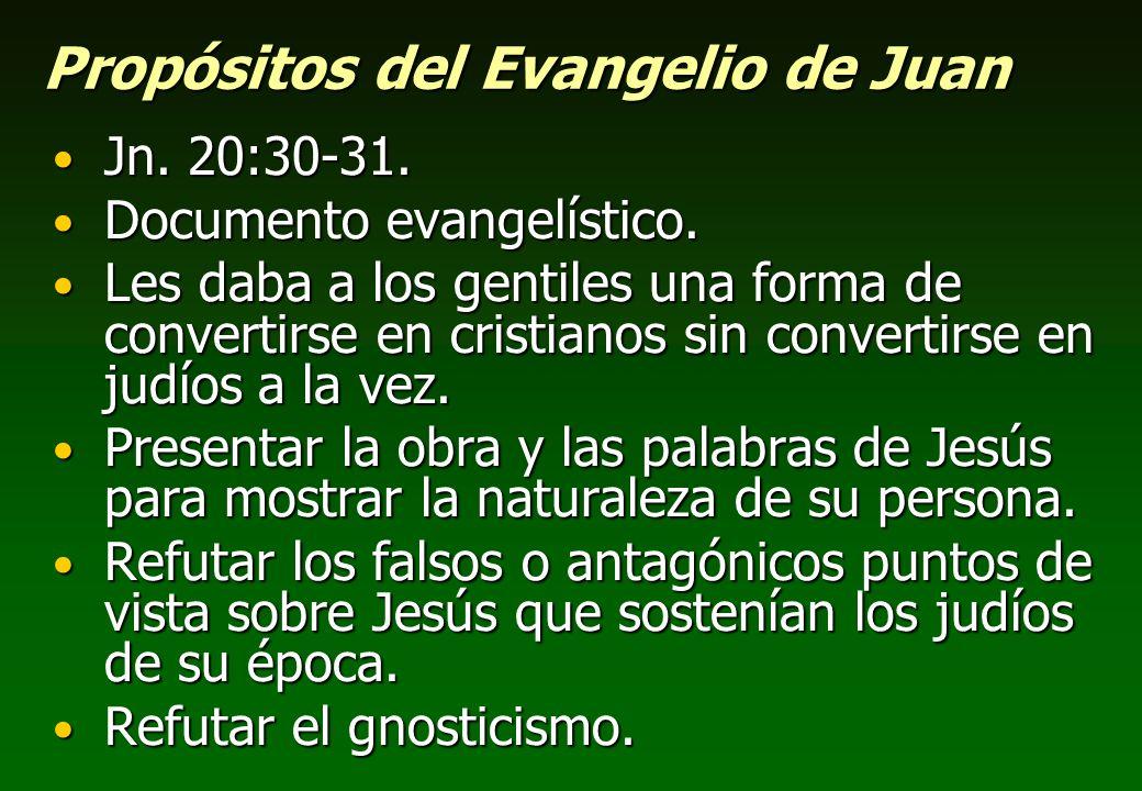 Propósitos del Evangelio de Juan Jn. 20:30-31. Jn. 20:30-31. Documento evangelístico. Documento evangelístico. Les daba a los gentiles una forma de co