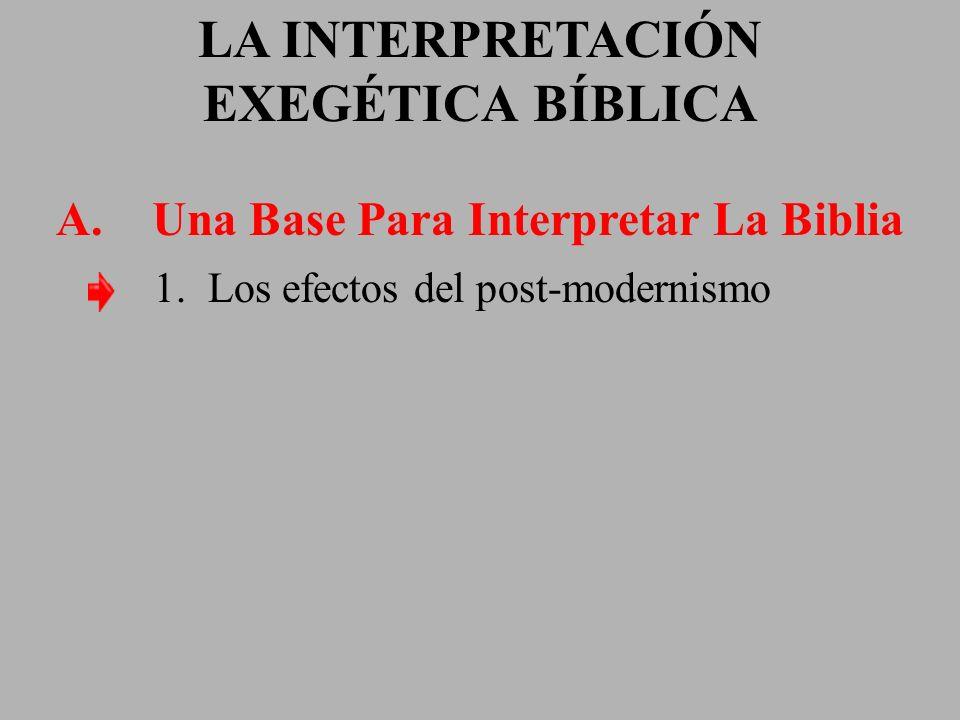 LA INTERPRETACIÓN EXEGÉTICA BÍBLICA A. Una Base Para Interpretar La Biblia 1. Los efectos del post-modernismo