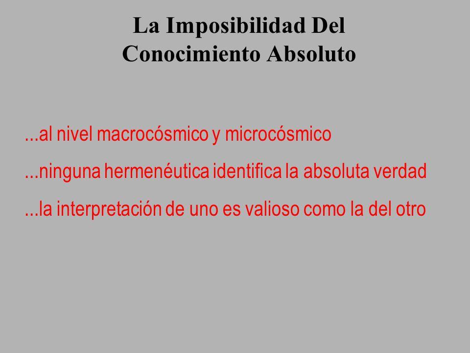 La Imposibilidad Del Conocimiento Absoluto...al nivel macrocósmico y microcósmico...ninguna hermenéutica identifica la absoluta verdad...la interpreta