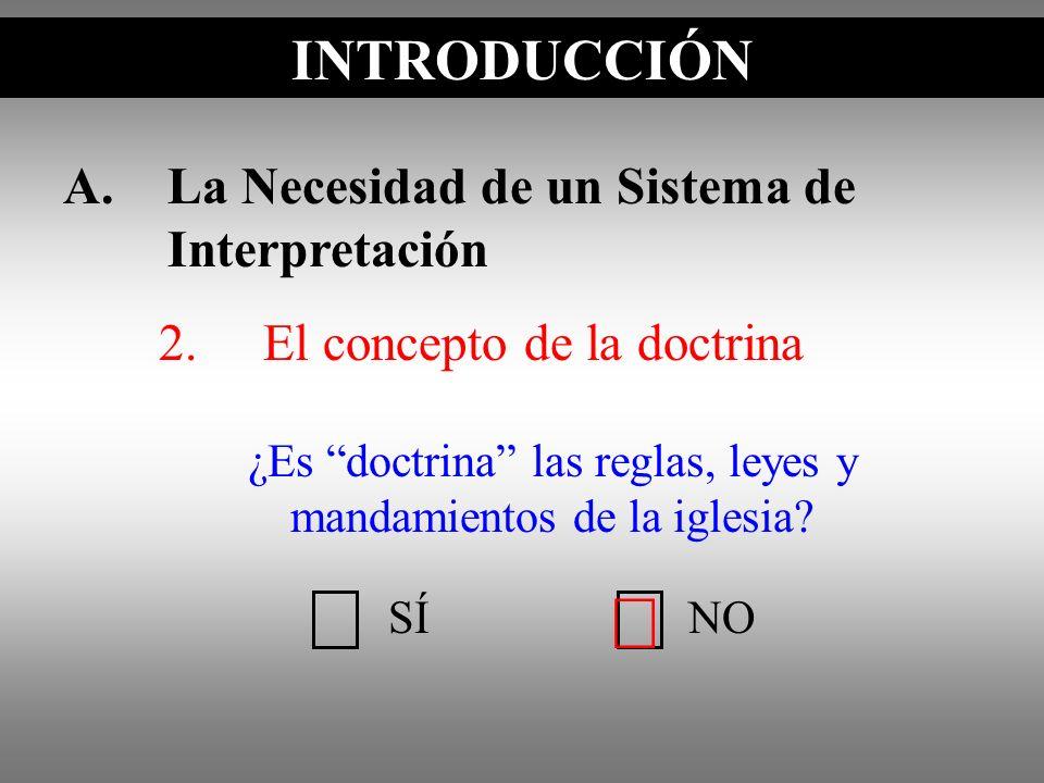 A.La Necesidad de un Sistema de Interpretación 2.El concepto de la doctrina INTRODUCCIÓN SÍNO ¿Es doctrina las reglas, leyes y mandamientos de la igle